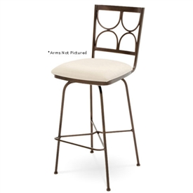 Pictured here is the Penelope Swivel Counter Stool with Arms, quality hand forged construction with various iron finishes and leather or fabric upholstery options.