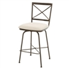 Pictured here is the Barkley Swivel Counter Stool , quality hand forged construction with various iron finishes and leather or fabric upholstery options.