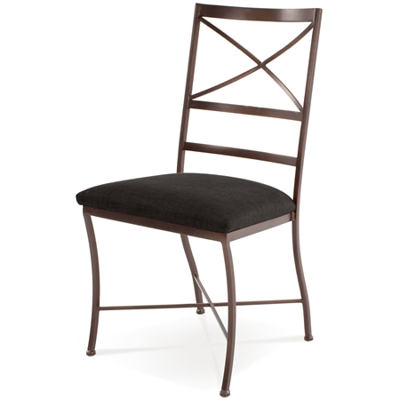 Pictured here is the Barkley Side Chair handcrafted by Charleston Forge. Available in serveral custom finish and seat options.
