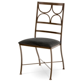 Pictured here is the Penelope Wrought Iron Side Chair handcrafted by Charleston Forge. Available in serveral custom finish and seat options.