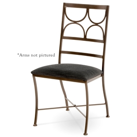 Pictured here is the Penelope Wrought Iron Dining Arm Chair handcrafted by Charleston Forge. Available in serveral custom finish and seat options.