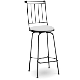 Pictured here is the Providence Swivel Counter Stool with hand forged quality craftsmanship with fine iron finishes and upholstery options to choose from.