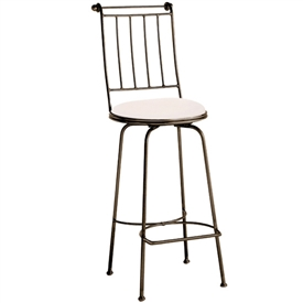 Pictured here is the Providence Swivel Bar Stool with hand forged quality craftsmanship with fine iron finishes and upholstery options to choose from.