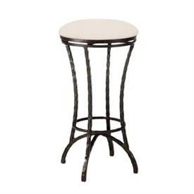 Pictured here is the Hudson Swivel Backless Counter Stool with hand forged quality craftsmanship with fine iron finishes and upholstery options to choose from.