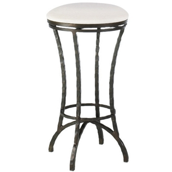 Pictured here is the Hudson Swivel Backless Bar Stool with hand forged quality craftsmanship with fine iron finishes and upholstery options to choose from.