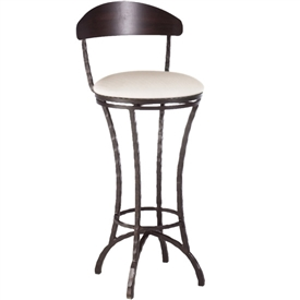 Pictured here is the Hudson Swivel Bar Stool with hand forged quality craftsmanship with fine iron finishes and upholstery options to choose from.