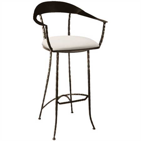 Pictured here is the Hudson Wrap Swivel Counter Stool with hand forged quality craftsmanship with fine iron finishes and upholstery options to choose from.