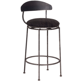 Pictured here is the Echo Swivel Bar Stool with hand forged quality craftsmanship with fine iron finishes and upholstery options to choose from.