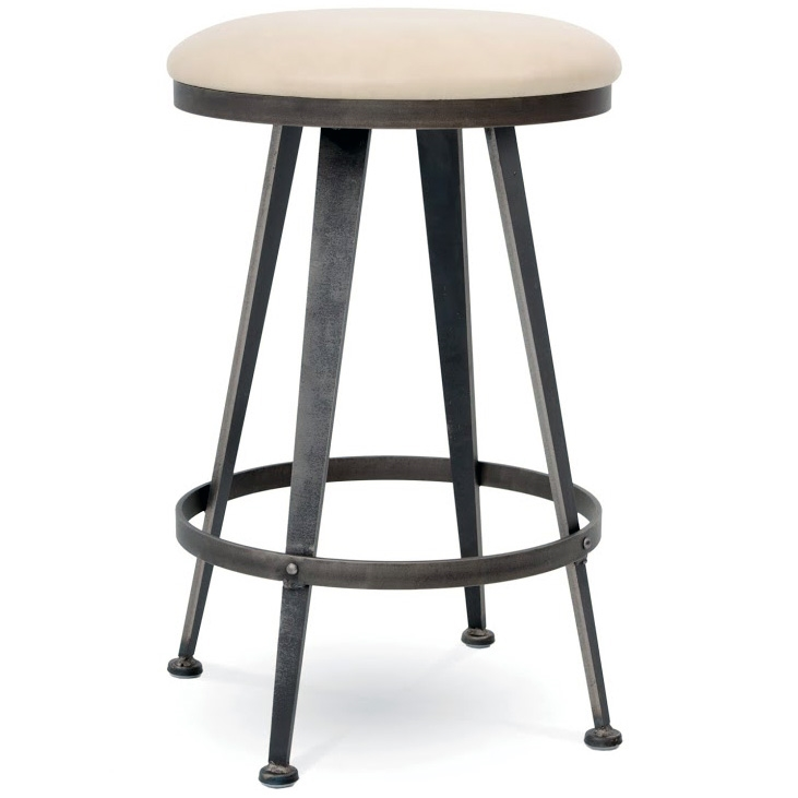 pictured here is the aries swivel backless counter stool with hand forged quality with fine
