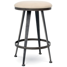 Pictured here is the Aries Swivel Backless Bar Stool with hand forged quality craftsmanship with fine iron finishes and upholstery options to choose from.