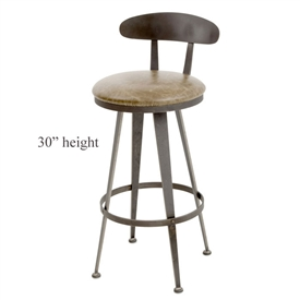 Pictured here is the Aries Swivel Bar Stool with hand forged quality craftsmanship with fine iron finishes and upholstery options to choose from.