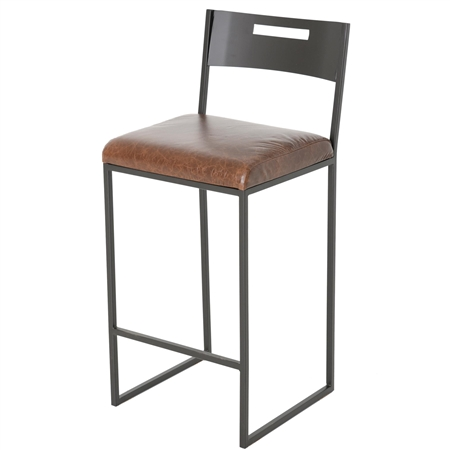Pictured here is the Astor Bar Stool with a 30-inch seat height, available in several custom iron finishes and upholstery options.