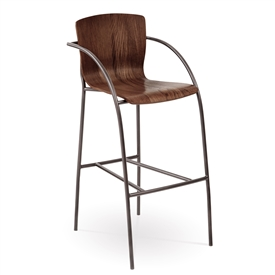Pictured here is the Merritt Bar Stool with Arms, quality hand forged construction with various iron finishes and wooded seat options.