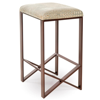 Pictured here is the Victoria Backless Bar Stool, quality hand forged construction with various iron finishes and leather or fabric upholstery options.