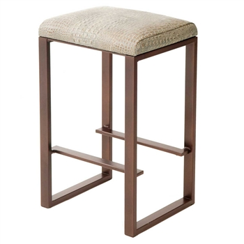 Pictured here is the Clement Backless Counter Stool, quality hand forged construction with various iron finishes and leather or fabric upholstery options.