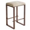 Pictured here is the Clement Backless Bar Stool, quality hand forged construction with various iron finishes and leather or fabric upholstery options.
