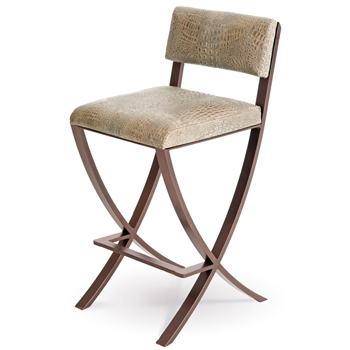Pictured here is the Naples Bar Stool , quality hand forged construction with various iron finishes and leather or fabric upholstery options.