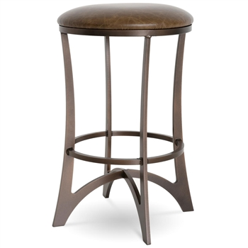 Pictured here is the Lotus Swivel Counter Stool with a transitional style iron base and upholstered seat cushion. Available in several custom iron finish and premium upholstery options.