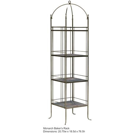 Pictured here is the Monarch Wrought Iron Bakers Rack with 3 slate shelves.