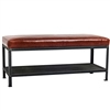 Pictured here is the industrial style Warehouse Bench with an iron frame and legs, and premium seat cushion available in several custom leather and fabric upholstery options.