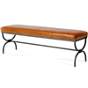 Pictured here is the Legacy 60-inch wide Bench with leather upholstered seat and hand-forged iron base.