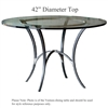 Pictured here is the Ventura Counter Height Table with 42-in top, available in custom iron finishes and various wood, glass and stone table tops to choose from.