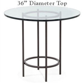 Pictured here is the Helios Bar Height Table with 36-in top, available in custom iron finishes and various wood, glass or stone table tops to choose from.