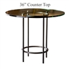 Pictured here is the Helios Counter Height Table with 36-in top, available in custom iron finishes and various wood, glass and stone table tops to choose from.