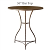 Pictured here is the Savoy Bar Height Table with 36-in top, available in custom iron finishes and various wood, glass or stone table tops to choose from.