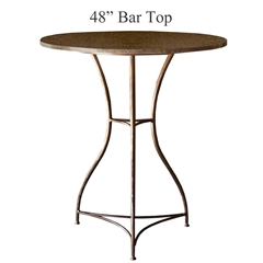 Pictured here is the Savoy Bar Height Table with 48-in top, available in custom iron finishes and various wood, glass or stone table tops to choose from.