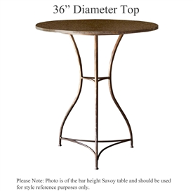 Pictured here is the Savoy Counter Height Table with 36-in top, available in custom iron finishes and various wood, glass and stone table tops to choose from.