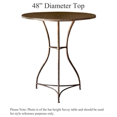 Pictured here is the Savoy Counter Height Table with 48-in top, available in custom iron finishes and various wood, glass and stone table tops to choose from.