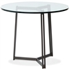 Pictured here is the Kern Bar Height Table with 36-in top, available in custom iron finishes and various wood, glass or stone table tops to choose from.