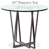 Pictured here is the Forrest Bar Height Table with 36-in top, available in custom iron finishes and various wood, glass or stone table tops to choose from.