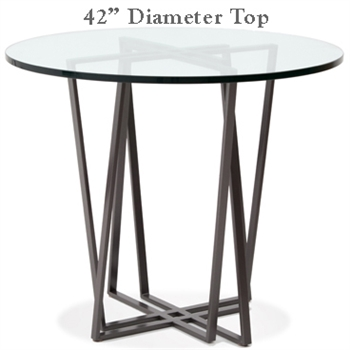 Pictured here is the Forrest Bar Height Table with 42-in top, available in custom iron finishes and various wood, glass or stone table tops to choose from.
