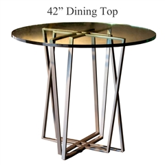 "Pictured is the Forrest 42"" Dining Table with custom iron finish and top options for you to choose. Comfortably seats 4"