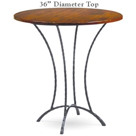 Pictured here is the Hudson Bar Height Table with 36-in top, available in custom iron finishes and various wood, glass or stone table tops to choose from.
