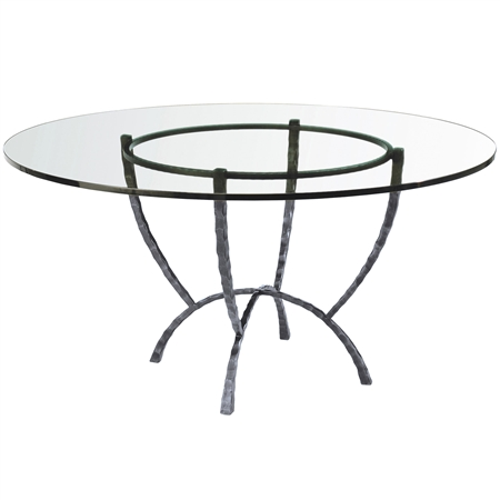 Pictured is the 48-in round Hudson Dining Table with custom iron finish and top options. Comfortably seats 4 to 6