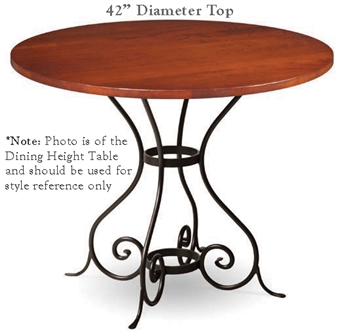 Pictured here is the Euro Bar Height Table with 42-in top, available in custom iron finishes and various wood, glass or stone table tops to choose from.