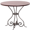 "Pictured is the Euro 36"" Dining Table with custom iron finish and top options for you to choose. Comfortably seats 4"