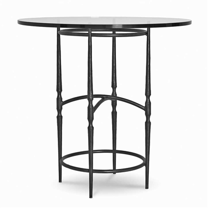 Pictured here is the Calico Counter Height Table with 48-in top, available in custom iron finishes and various wood and glass tops to choose from.