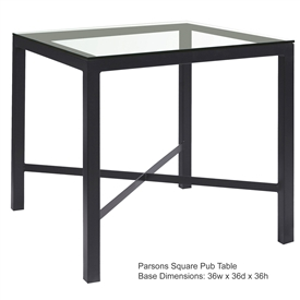 Pictured here is the Parson Counter Height with 36-in x 36-in top, available in custom iron finishes and various wood and glass table tops to choose from.