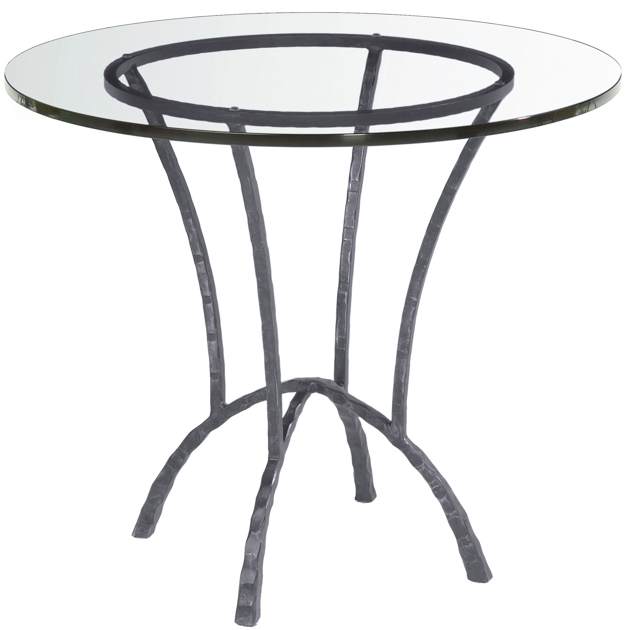 Round wrought iron hudson dining table for Round glass top coffee table wrought iron