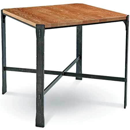 Pictured is the 54-in square transitional style Woodland Bar Height Table with hand-forged iron base and thick wood slab table top from Charleston Forge.