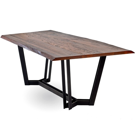 Pictured is the 72 x 40 Sutton Rectangle Dining table with a modern metal table base and wood table top from Charleston Forge.