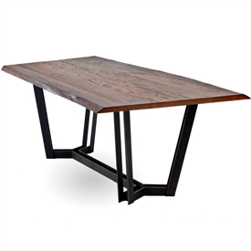 Pictured is the 96 x 40 Sutton Rectangle Dining table with a modern metal table base and wood table top from Charleston Forge.
