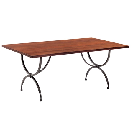 Pictured is the Blackberry Road Dining Table with custom iron finish and top options for you to choose. Comfortably seats 8