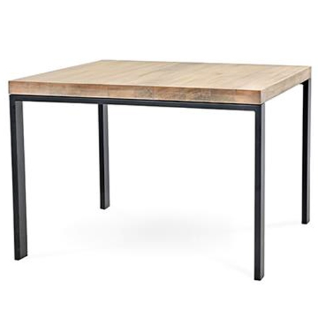 Pictured is the 54-inch square Astor Counter Height table with a clean modern style iron table base and wood table top from Charleston Forge.