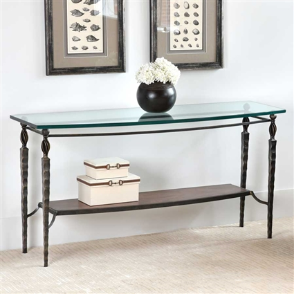 Pictured is the Winston Console Table with wrought iron base and glass table top from Charleston Forge
