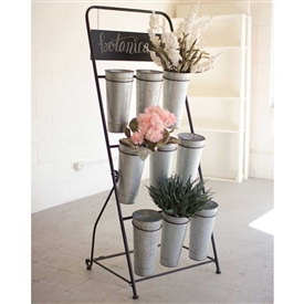 Pictured here is the Flower Rack Display Stand with Galvanized Buckets at Timeless Wrought Iron